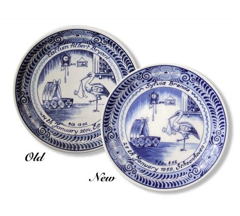 New Plates Are by Personalised Ceramic Delft Birth Plate