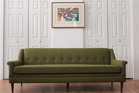 Gifts For New Apartment Owners by Evil Olive Green Tweed Sofa