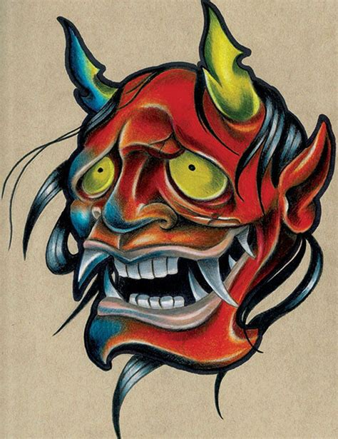 tattoo new school flash smola hannya by corey smola asian new school tattoo canvas