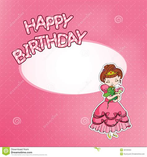 happy birthday princess card template birthday card with princess stock vector