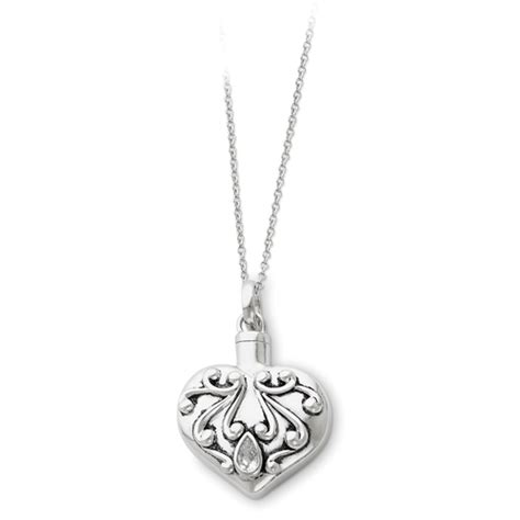 sterling silver antiqued remembrance cremation necklace