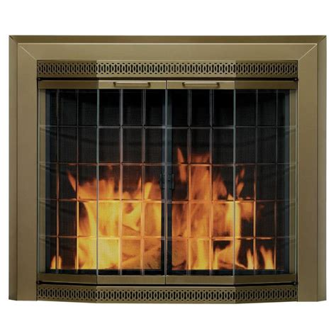 Pleasant Hearth Glass Fireplace Doors Shop Pleasant Hearth Grandior Bay Antique Brass Medium Bi Fold Bay Fireplace Doors With Clear