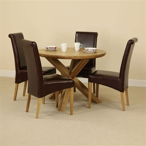 the solid oak table with crossed legs and four brown