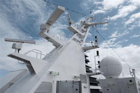 satellite communication antenna on the top of large passenger ship stock photo image 50998186