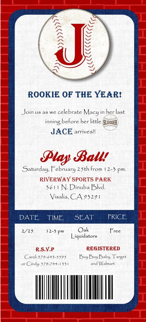Baseball Baby Shower Invitation Template Joy Studio Design Gallery Best Design Baby Shower Ticket Invitation Template