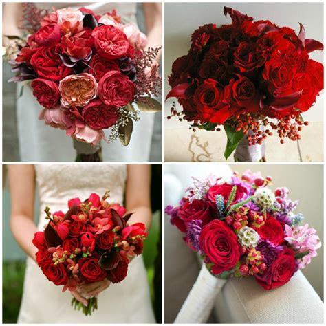 imagenes bodas en blanco y rojo ramos de novia en color rojo