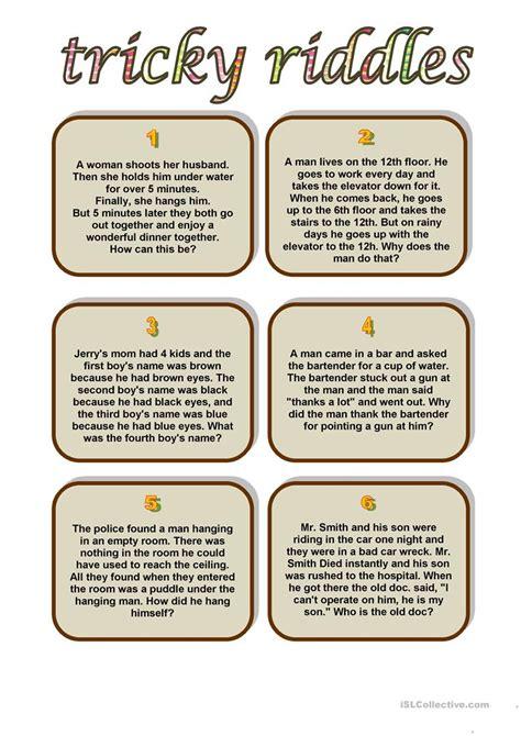 printable riddles tricky riddles worksheet free esl printable worksheets