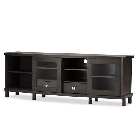 sliding door tv cabinet baxton studio walda 70 inch dark brown wood tv cabinet