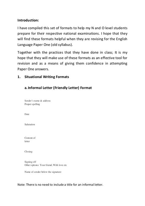 Formal Letter Format Singapore Situational Writing Formats Guidenotes N Lvl