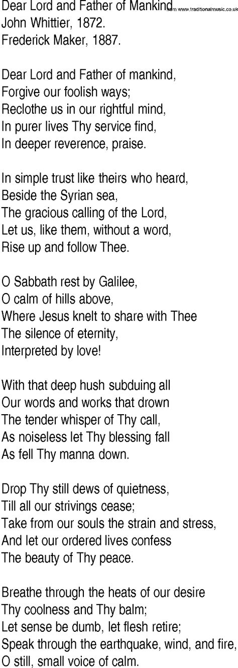 lyrics by mankind hymn and gospel song lyrics for dear lord and of