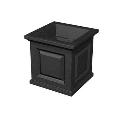 Plastic Planter Boxes Home Depot by Mayne Nantucket 16 In Square Black Plastic Planter 5865 B