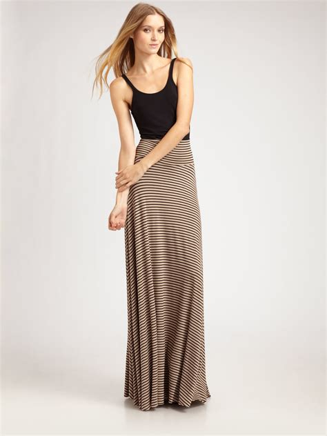 brown patterned maxi skirt lyst rachel pally striped maxi skirt in brown