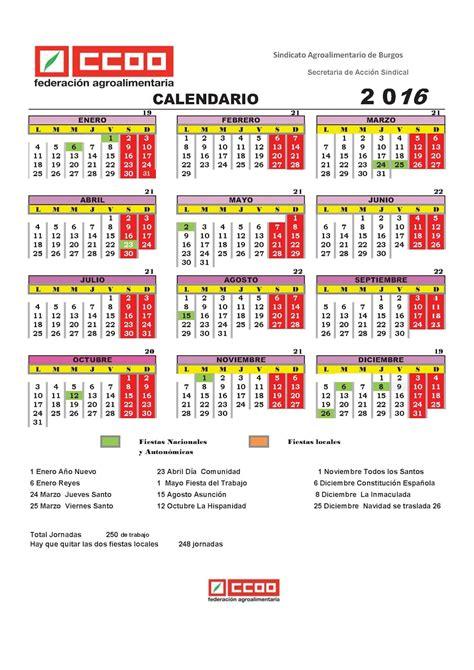 Calendario Laboral 2016 Y 2017 Ccoo Cofr 205 O Burgos Calendario Laboral 2016 2017