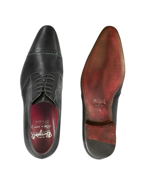 Handmade Italian Leather Shoes - fratelli borgioli handmade black italian leather wingtip