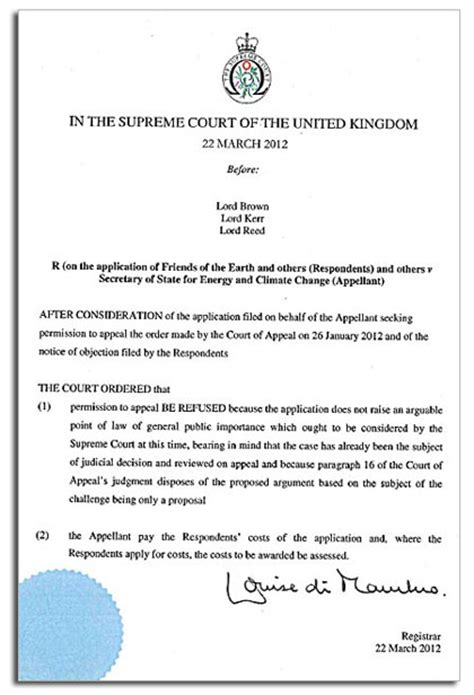 This Is An Order From The Court To Send Up The Records On A For Review Supreme Court Order Refusing Government Appeal On Solar Tariffs Friends Of The Earth