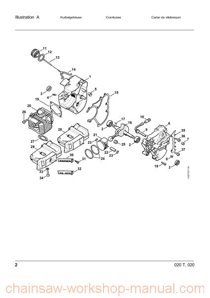 stihl 020t parts diagram stihl 020 t parts list manual chainsaw workshop manuals