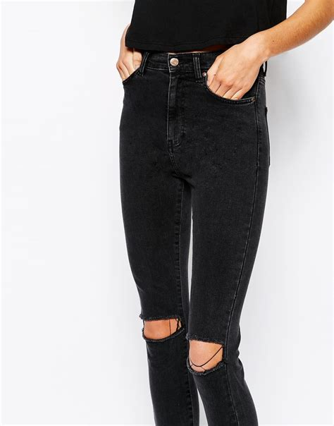 High Waist Ripped high waisted ripped black ye jean