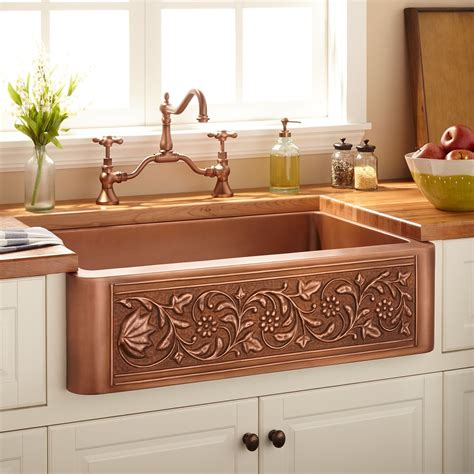 "33"" Vine Design Copper Farmhouse Sink   Kitchen"