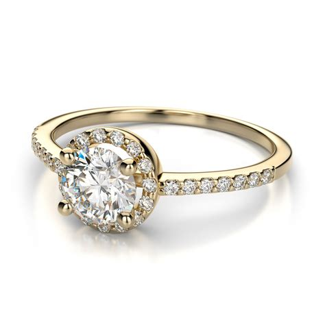 yellow gold halo engagement rings brilliant and