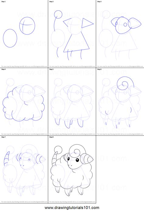 printable art how to how to draw mareep from pokemon printable step by step