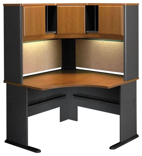 bush series a 48 quot corner computer desk with hutch in cherry transitional desks and