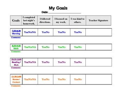 behavior chart template free behavior chart template