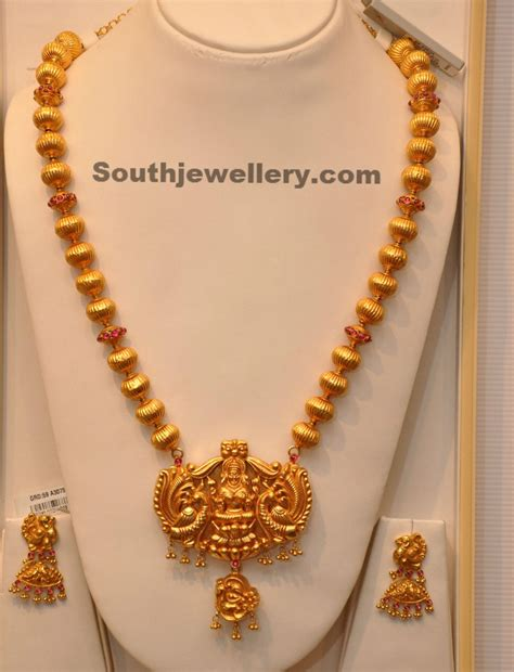south hill design necklaces lakshmi temple long chain jewellery designs