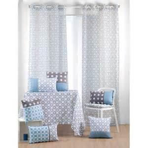rideau voilage bleu gris motifs g 233 om 233 triques 135x260cm 224