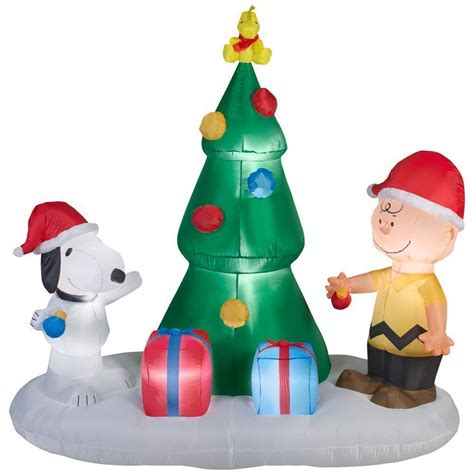 yard inflatables snoopy and brown tree airblown tree