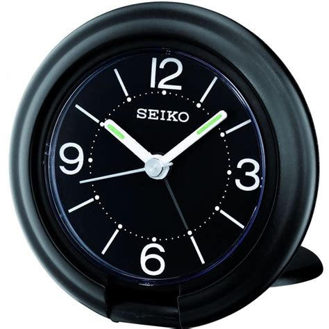 seiko qht012k black travel alarm clock with snooze function new ebay