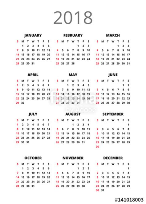 Calendar Book 2018 Quot 2018 Year Calendar Vertical Book Orientation Vector
