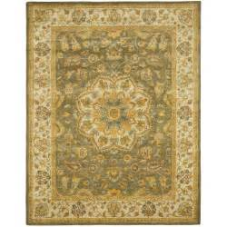 9x12 Area Rug Heritage Tufted Green Taupe Wool Area Rug 9 X 12 Ebay