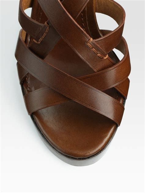 burberry leather slingback wedge sandals in brown lyst