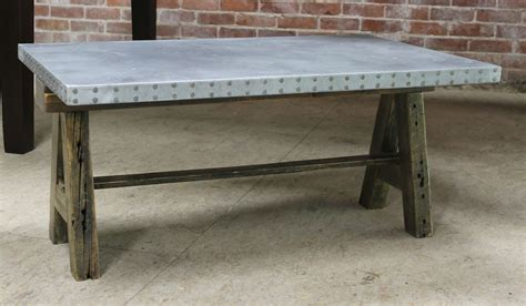 Zinc Coffee Table Zinc Coffee Table With Rustic Base Lake And Mountain Home