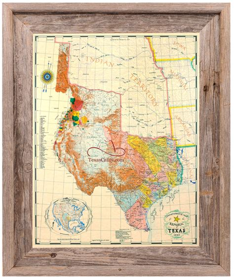 map picture frame buy republic of map 1845 framed historical maps