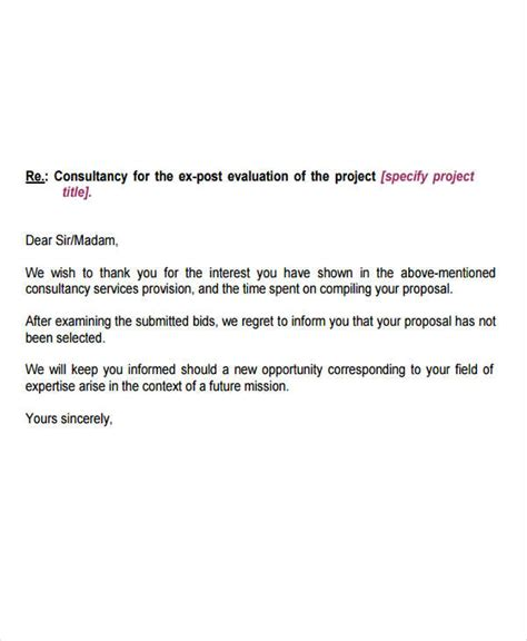 Regret Letter Unsuccessful Tender 10 Bid Rejection Letter Templates Free Premium Templates