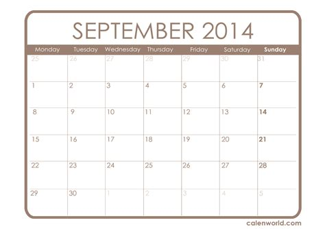 printable monthly planner september 2014 september 2014 calendar printable calendars