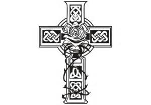 Celtic Cross Wall Decal Design With A Rose  Nice Irish Decoration sketch template