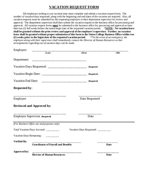 employee vacation request form template 10 sle vacation request forms sle templates