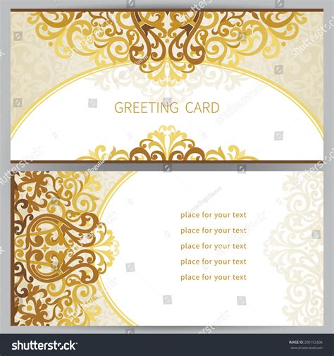 ornate card templates vintage ornate cards east style golden stock vector