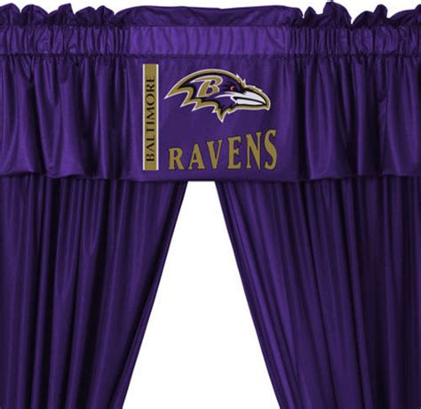 baltimore ravens shower curtain nfl baltimore ravens 5 piece long curtain drapes valance