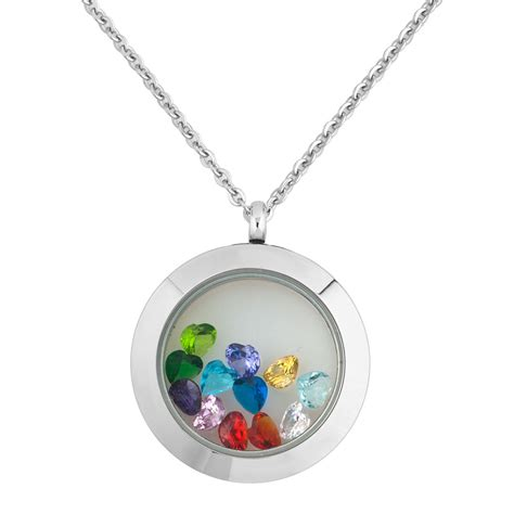 12 birthstone floating charm locket necklace