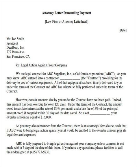 demand letter templates ms word
