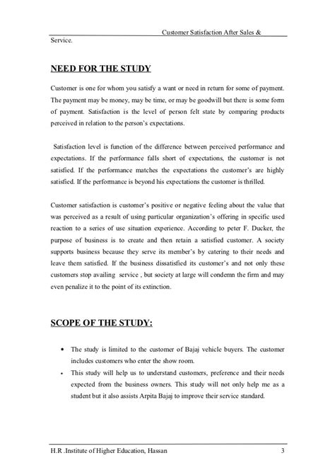 After Sales Service Letter Exles A Study Of Customer Satisfaction On After Sales And Service Conducted