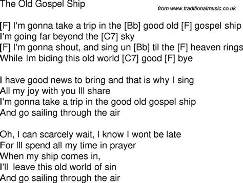 gospel song time song lyrics with chords for the gospel ship f