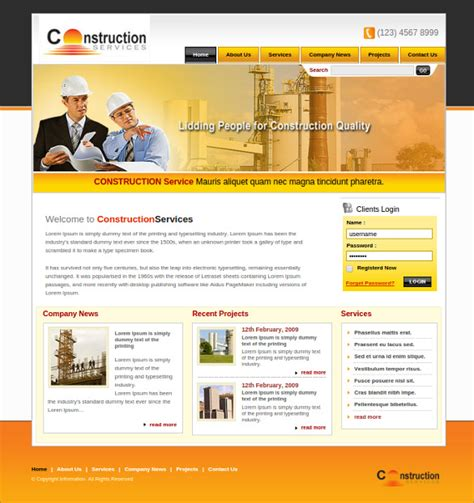 Free Home Page Html Templates 42 engineering website themes templates free