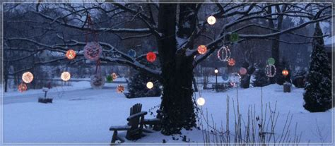 light balls to hang in trees outdoor yard decorating ideas