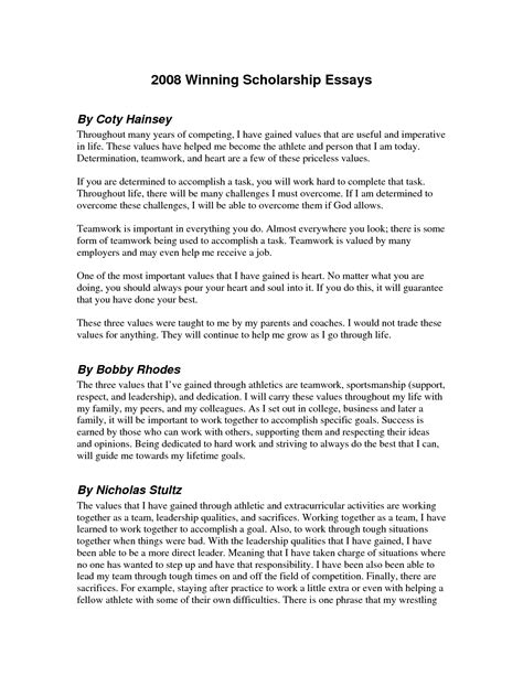 Exles Of Winning Scholarship Essays by Sle Scholarship Essay