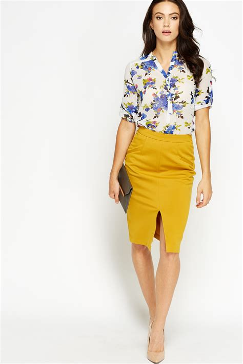 slit front mustard pencil skirt just 163 5