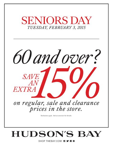 is there a certain day for senior discount at great clips hudson s bay canada discount code seniors save 15 off on